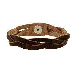 Brown Braided Leather Bracelet