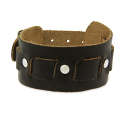 Brown Leather Buckle Strap Bracelet