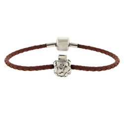 Brown Braided Leather Oriana Bead Bracelet with Stopper Bead