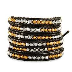 Chen Rai Gold and Silver Beaded Long Wrap Bracelet