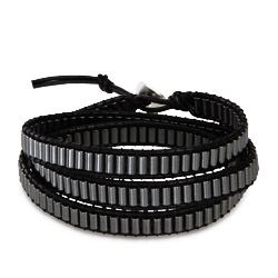 Chen Rai Black and Gray Hematite Wrap Bracelet