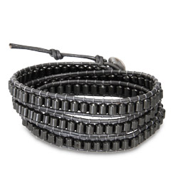 Chen Rai Hematite Beads on Gray Leather Wrap Bracelet