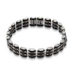 Men's Stainless Steel with Black Rubber Links Bracelet