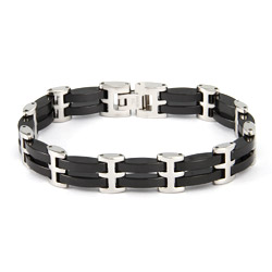 Men's Black Ceramic Link Bracelet