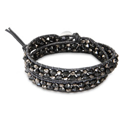 Chen Rai Gray Double Row Beaded Wrap Bracelet