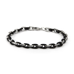 Mens Steel and Black Horseshoe Linked Bracelet