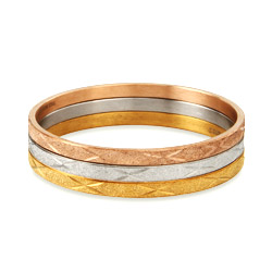 Tri Color Diamond Cut Engravable Three Bangle Bracelet Set