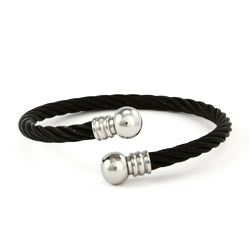Designer Inspired Stainless Steel Black Cable Twist Unisex Bracelet