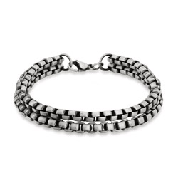 Men's Double Strand Wide Rolo Bracelet with Brushed Finish