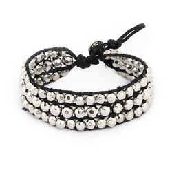 Chen Rai Silver Beaded Black Leather Single Wrap Bracelet