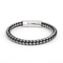 Men's Handsome Gray and Black Thick Braided Cord Bracelet