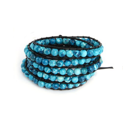 Chen Rai Fiery Blue Jasper Bead Long Wrap Bracelet on Black Cord