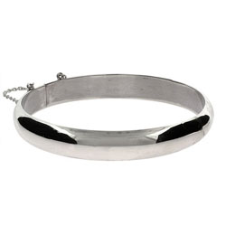 Engravable 14mm Sterling Silver Bangle Bracelet