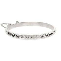 Kids Engravable 5mm Diamond Cut Sterling Silver Bangle