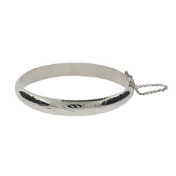 Engravable Etched Design 9mm Sterling Silver Bangle Bracelet
