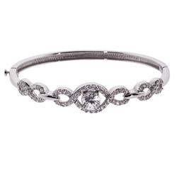 Glamorous CZ Bangle Bracelet with Scroll Design