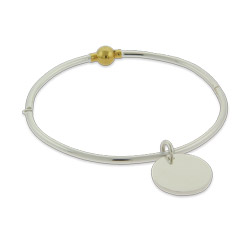 Engravable Cape Cod Style Sterling Silver Bangle with Round Tag Charm