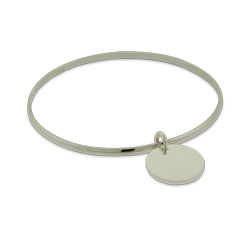 Engravable Sterling Silver Bangle Bracelet with Round Tag Charm