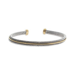 Gold Lined Sterling Silver Cable Cuff Bracelet