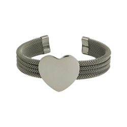 Engravable Mesh Heart Stainless Steel Cuff Bracelet