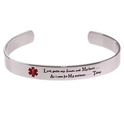 Engravable Nurses Prayer Cuff Bracelet
