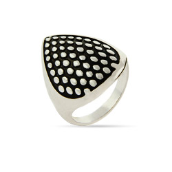 Daring Dotted Teardrop Ring with Oxidized Inlay