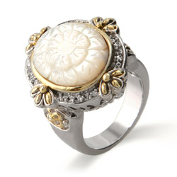 Vintage Designer Inspired Oval Embroidery Style Ring