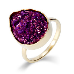Genuine Amethyst Drusy Quartz Golden Peardrop Ring