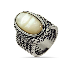 Designer Inspired Oval Mother of Pearl Ring with Braided Edge