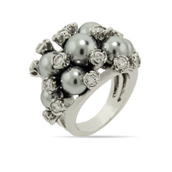 Gray Pearl Bezel CZ Cocktail Ring