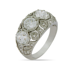 Ornate Puffed CZ Puzzlework Right Hand Ring