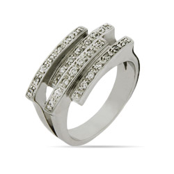 Interlocking CZ Bars Ring
