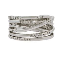 Six Row Overlapping CZ Ring