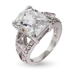 Art Deco Style Multi Faceted Rectangle CZ Ring With Milgrain Edging