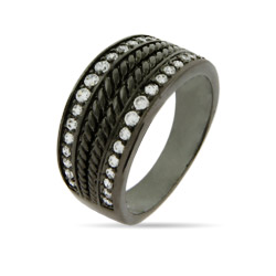 Designer Inspired Black Rhodium CZ Cable Ring