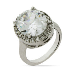 Dazzling 6.5 Carat Halo Oval CZ Engagement Ring