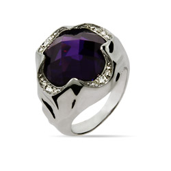 Designer Inspired Purple Amethyst CZ Clover Ring