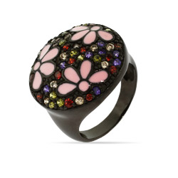 Black Rhodium Dark Forest Ring with Pink Enamel Flower Inlay