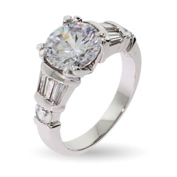 3 Carat Cable Prong CZ Engagement Ring with Baguette Accents