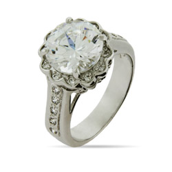 Triple Layer CZ Flower Right Hand Ring