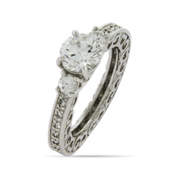 Vintage Heart Scroll Edge Engagement Ring
