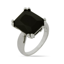 Large Simple Emerald Cut Onyx Cocktail Ring