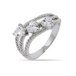 Lauren's Three Heart CZ Cabled Friendship Ring