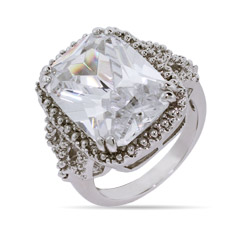 Gloria's 10 Carat Emerald Cut CZ Right Hand Ring