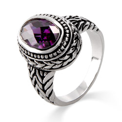 Designer Inspired Oval Cut Amethyst Bali Ring