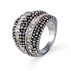 Designer Inspired Dotted Design CZ Domed Ring