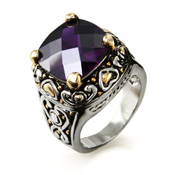 Designer Inspired Amethyst Cushion Cut CZ Ring with Golden Hearts
