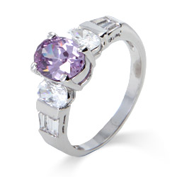 Pretty Oval Cut Lavender CZ Ring