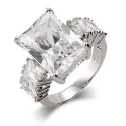 Celebrity Style CZ Emerald Cut Engagement Ring