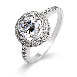 Delicate Flowering Halo CZ Ring